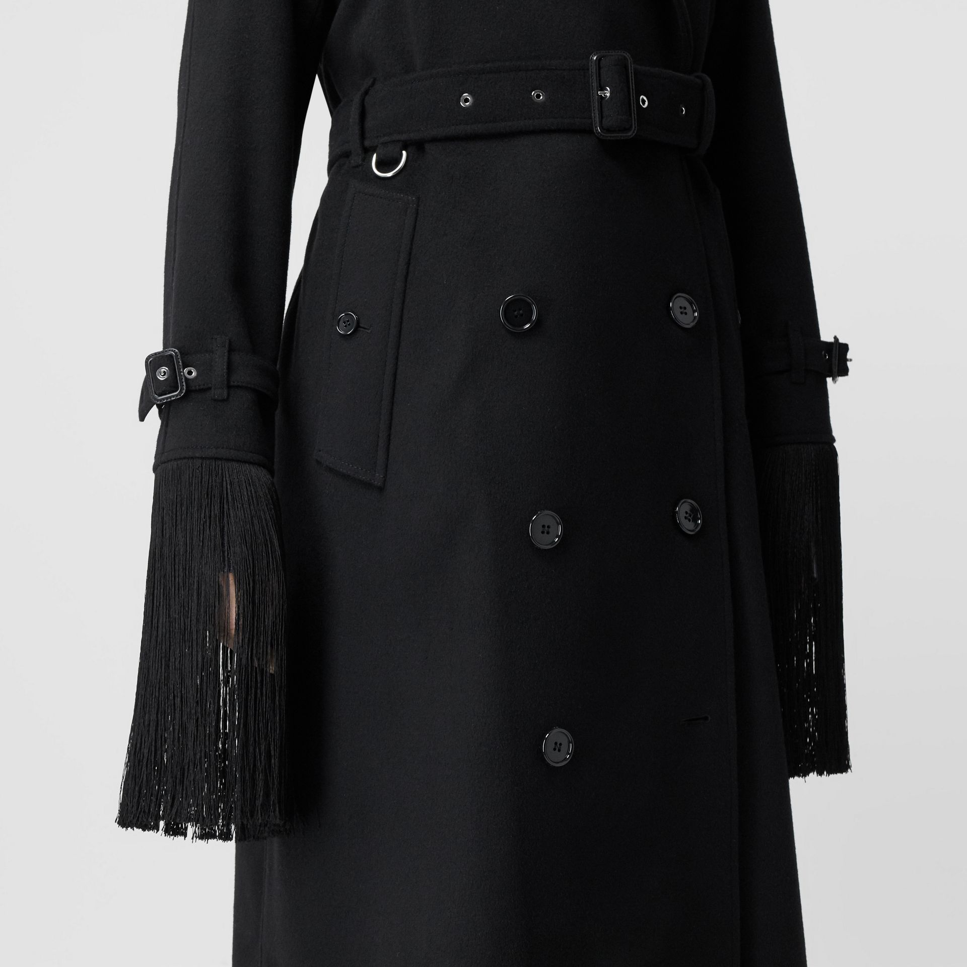 Fringed Wool Cashmere Trench Coat in Black - Women | Burberry Australia - gallery image 5