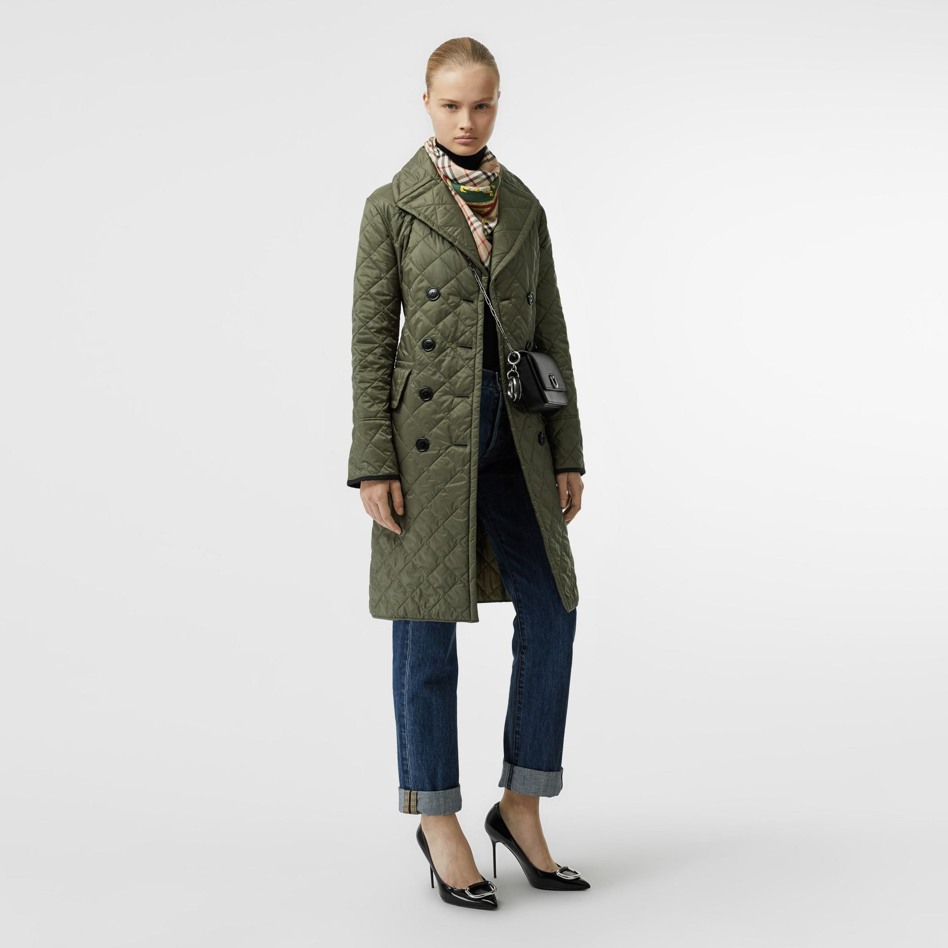 Lightweight Diamond Quilted Coat in Cadet Green - Women | Burberry - gallery image 0