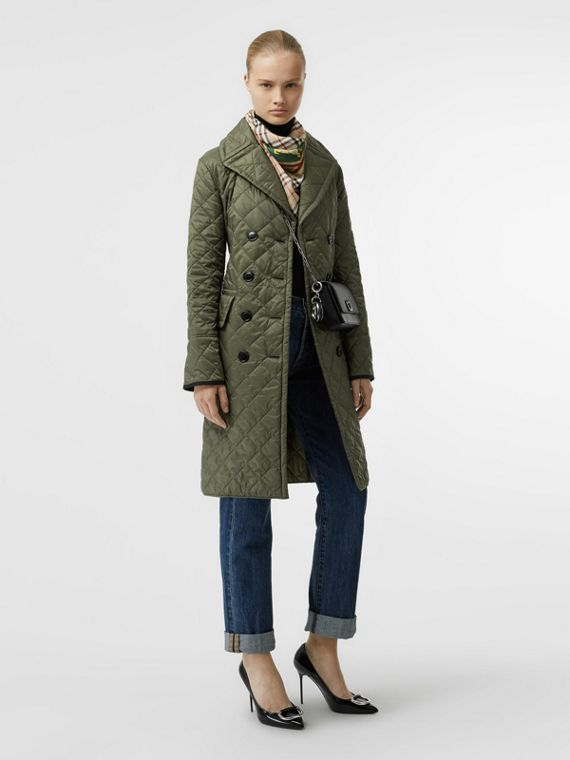 Lightweight Diamond Quilted Coat in Cadet Green