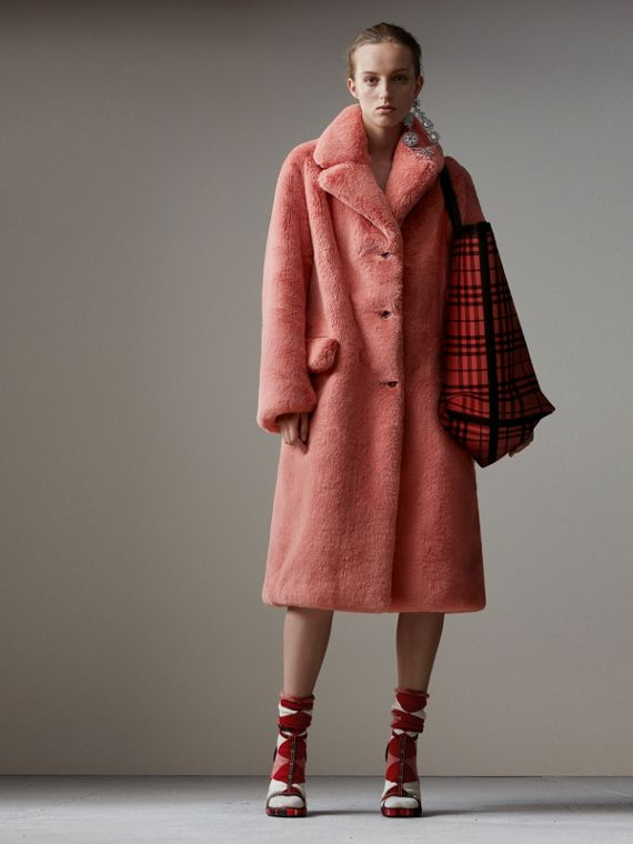 Faux Fur Single-breasted Coat in Pale Pink