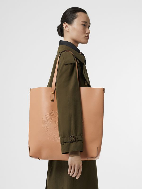Large Embossed Crest Leather Tote in Light Camel - Women | Burberry Singapore - cell image 2