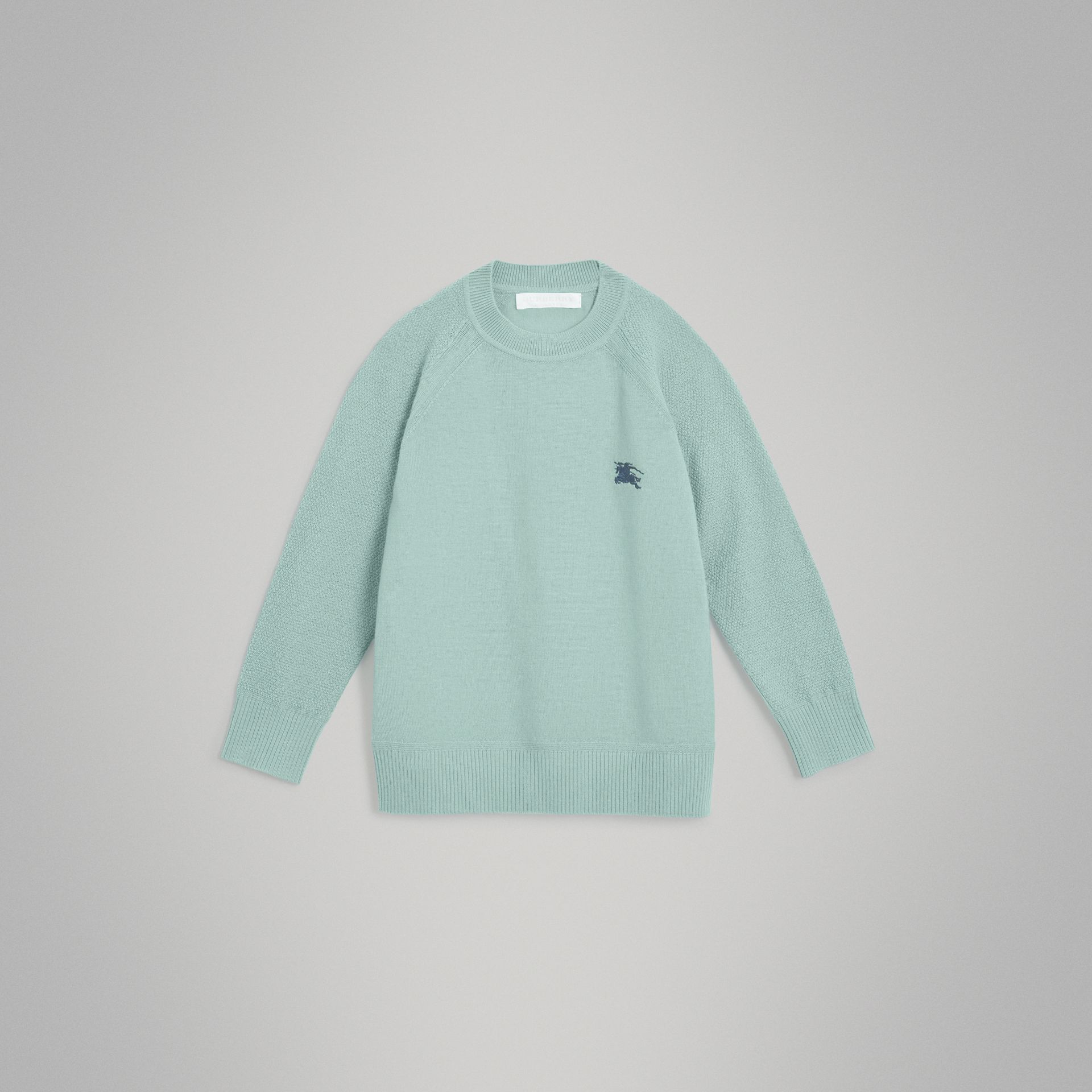 Crew Neck Cashmere Sweater in Dusty Mint Melange | Burberry Australia - gallery image 0