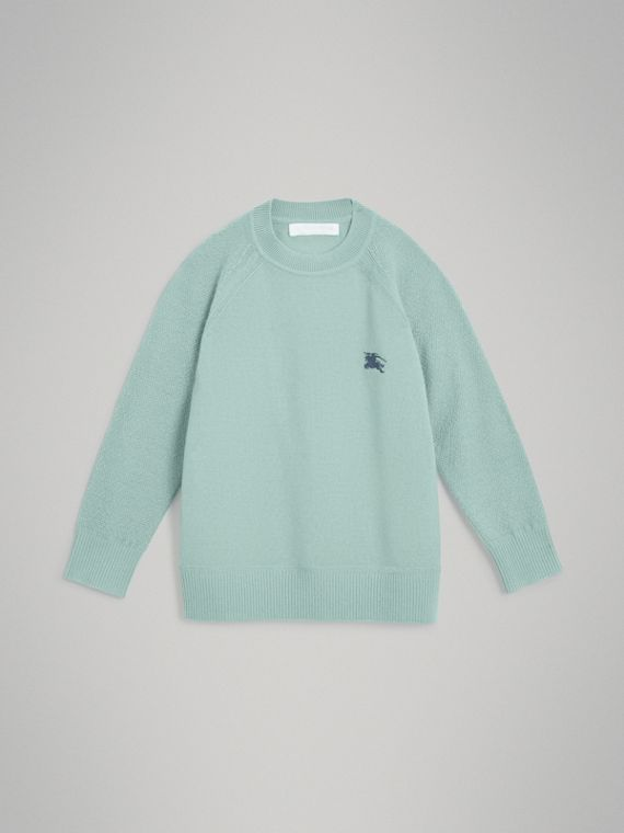 Crew Neck Cashmere Sweater in Dusty Mint Melange