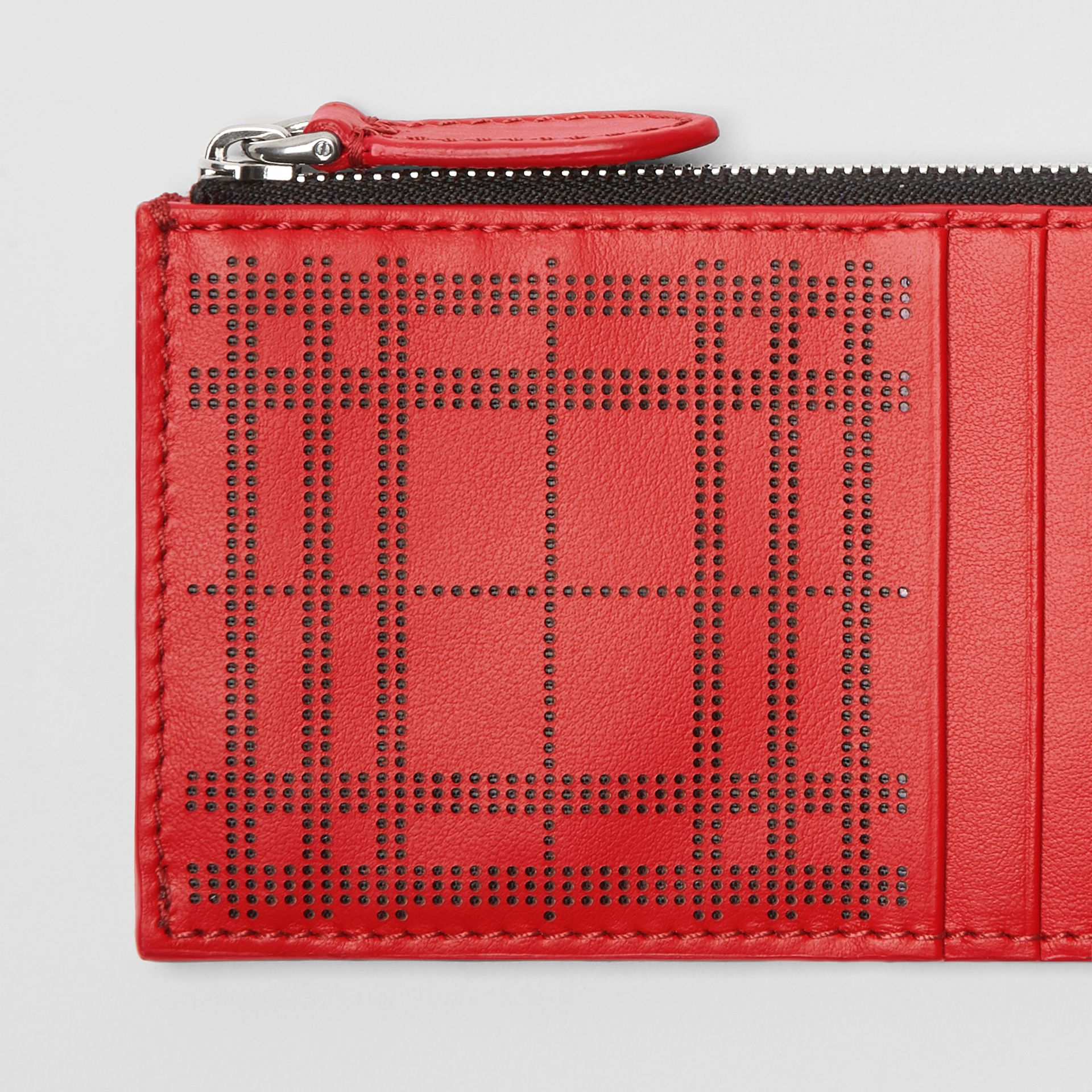 Perforated Check Leather Zip Card Case in Rust Red - Men | Burberry - gallery image 1