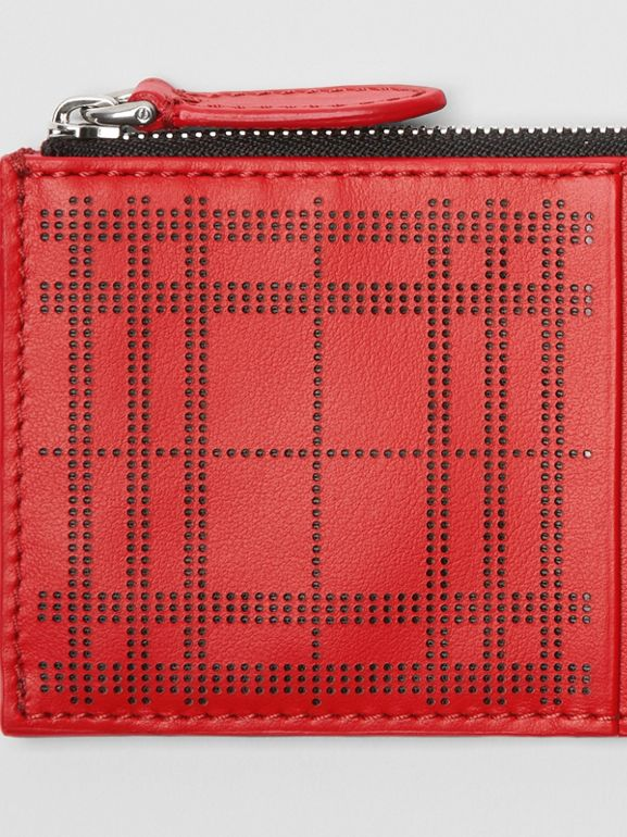 Perforated Check Leather Zip Card Case in Rust Red - Men | Burberry - cell image 1