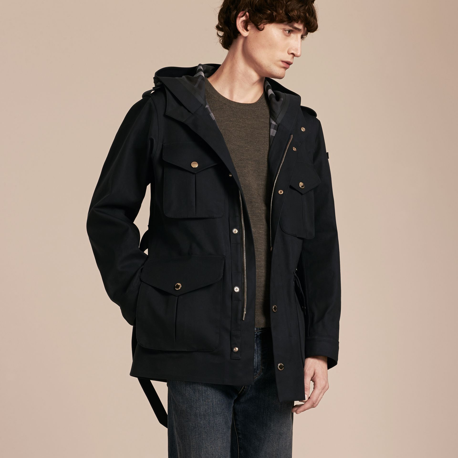 Hooded Bonded Cotton Field Jacket - gallery image 6