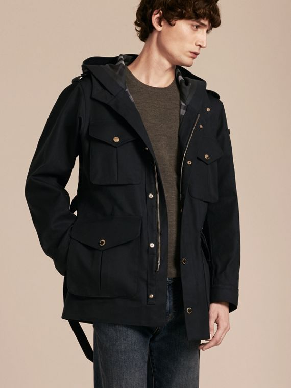 Hooded Bonded Cotton Field Jacket