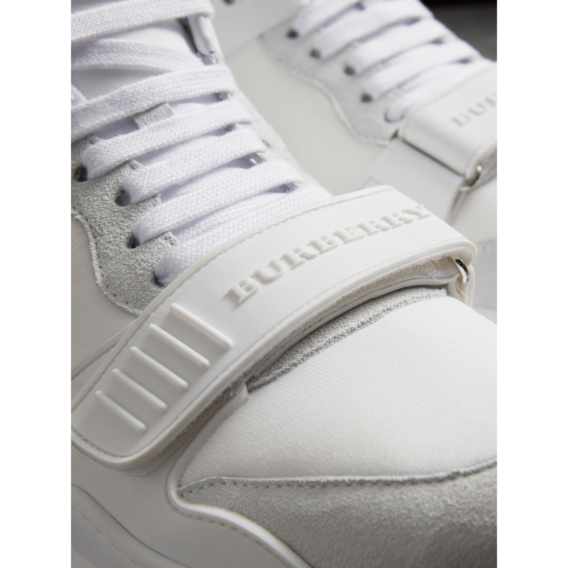 Suede Trim Neoprene High-top Sneakers in Optic White - Women | Burberry - gallery image 1