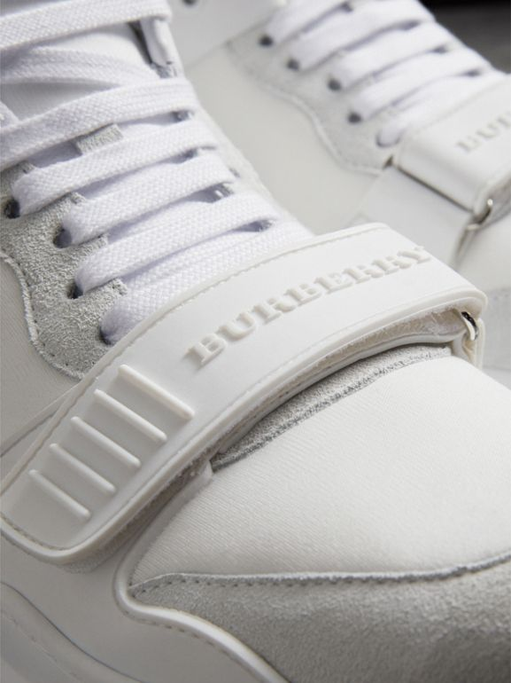 Suede and Neoprene High-top Sneakers in Optic White - Women | Burberry Hong Kong - cell image 1