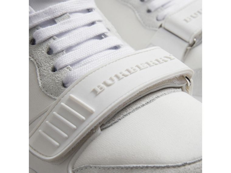 Suede Trim Neoprene High-top Sneakers in Optic White - Women | Burberry Canada - cell image 1