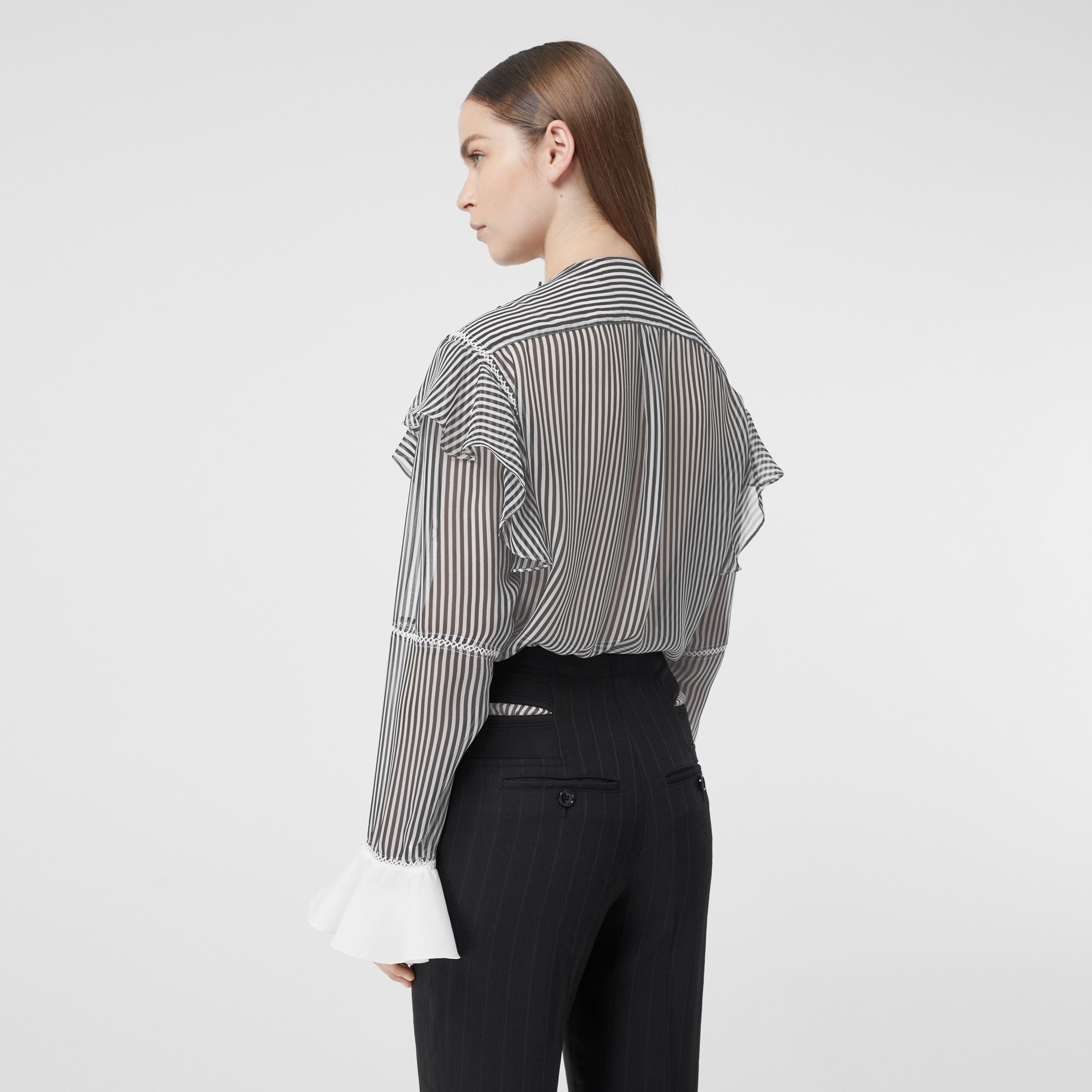 Ruffle Detail Striped Silk Chiffon Shirt in Black - Women | Burberry Australia - 3