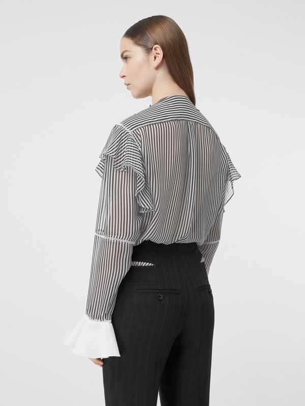Ruffle Detail Striped Silk Chiffon Shirt in Black - Women | Burberry - cell image 2