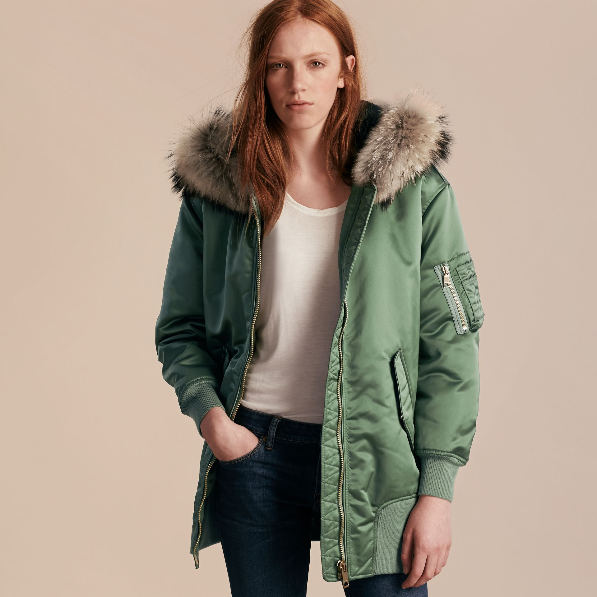 Eucalyptus green Long-line Satin Bomber Jacket with Fur-trimmed Hood Eucalyptus Green - gallery image 6