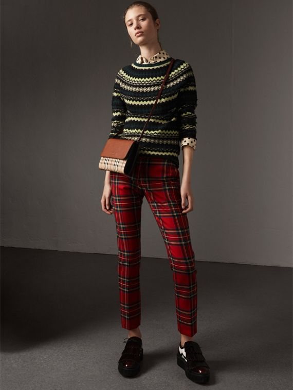 Haymarket Check and Leather Crossbody Bag in Bright Toffee/multi - Women | Burberry Hong Kong - cell image 2