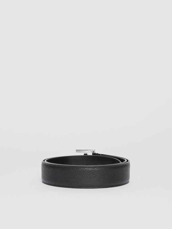 Monogram Motif Grainy Leather Belt in Black - Men | Burberry - cell image 3