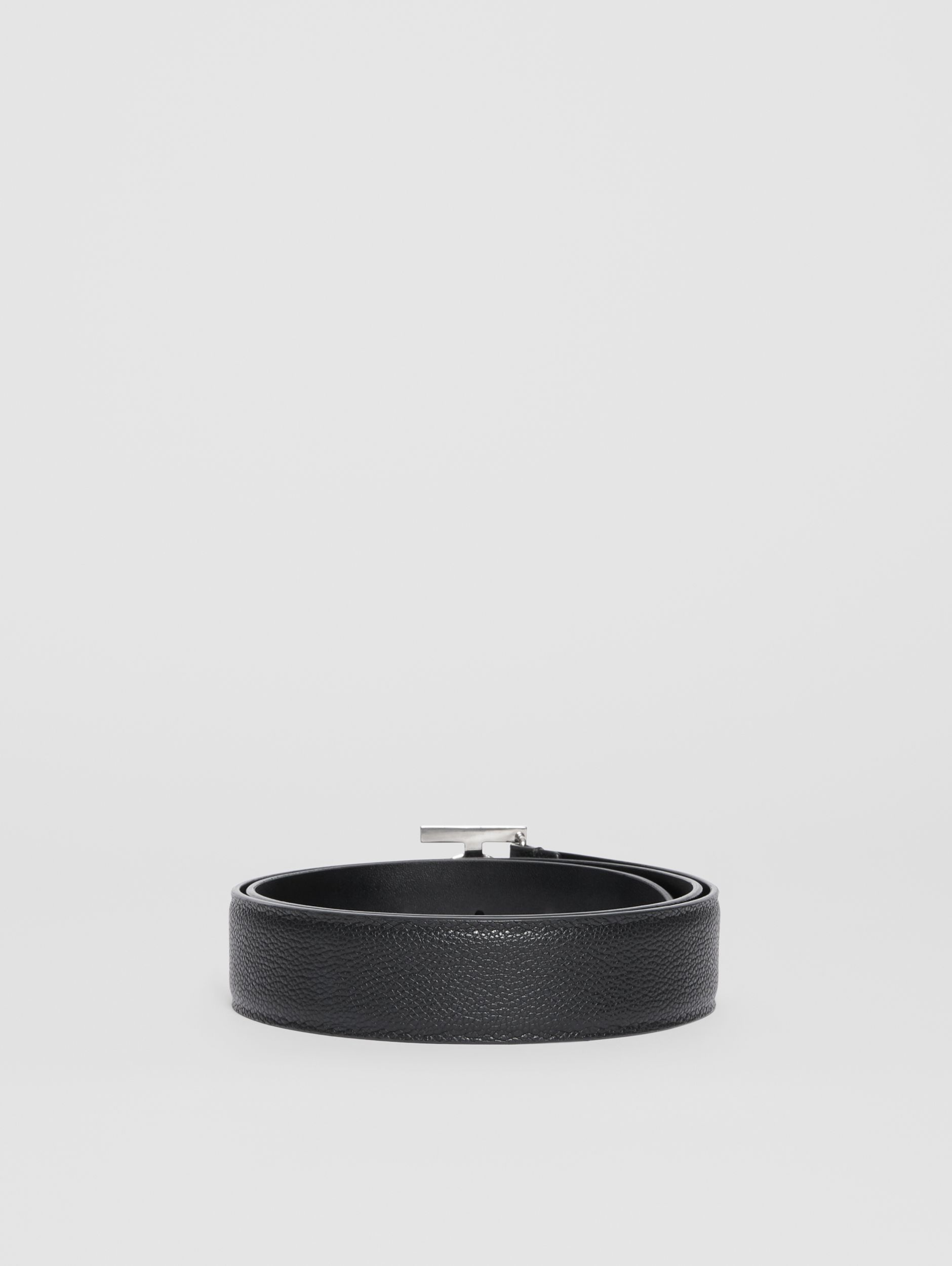 Monogram Motif Grainy Leather Belt in Black - Men | Burberry - 4