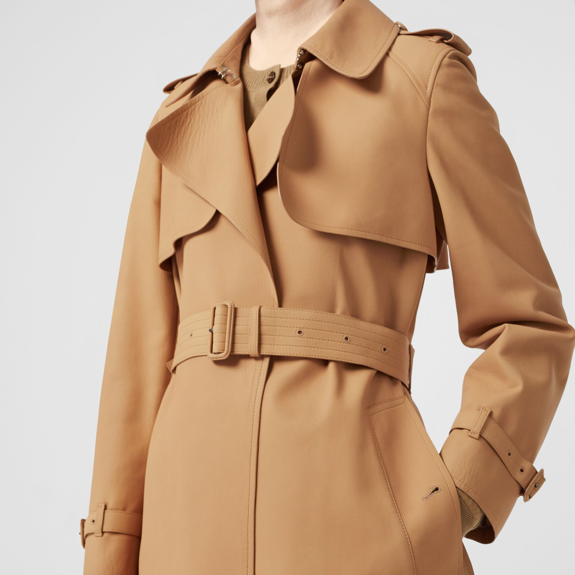 Lambskin Wrap Trench Coat in Caramel - Women | Burberry - gallery image 5