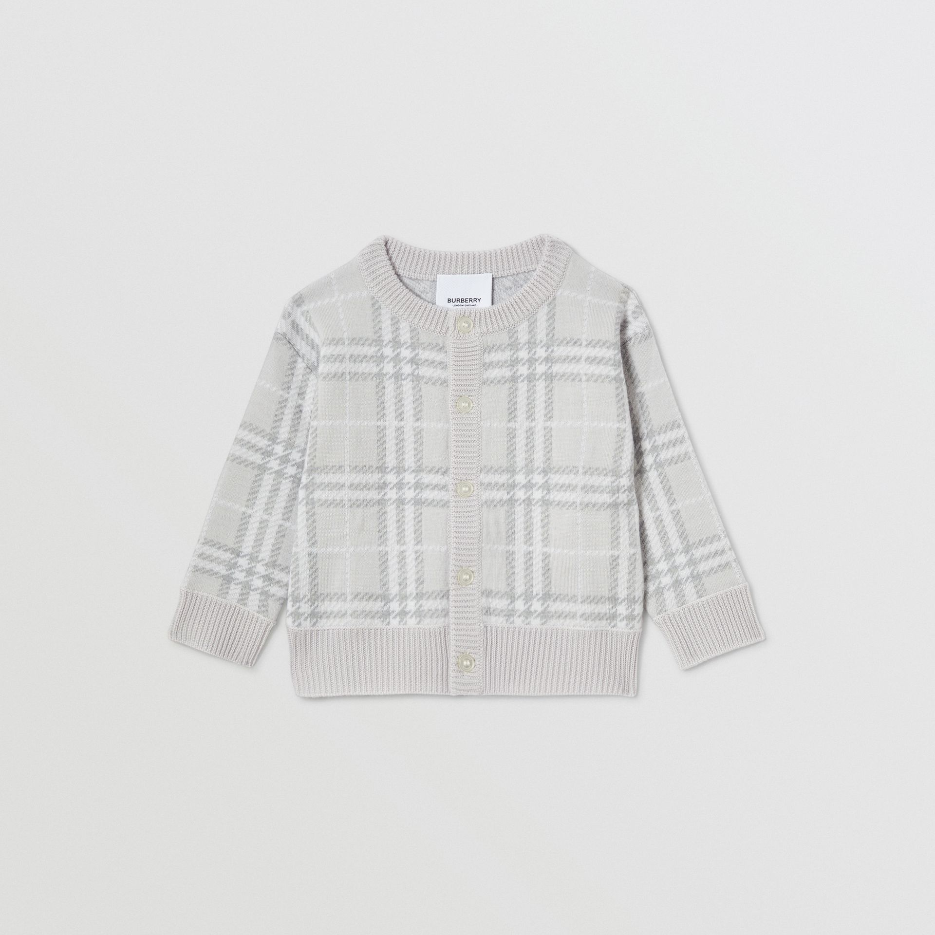 Check Merino Wool Jacquard Cardigan in Pale Grey - Children | Burberry - gallery image 0