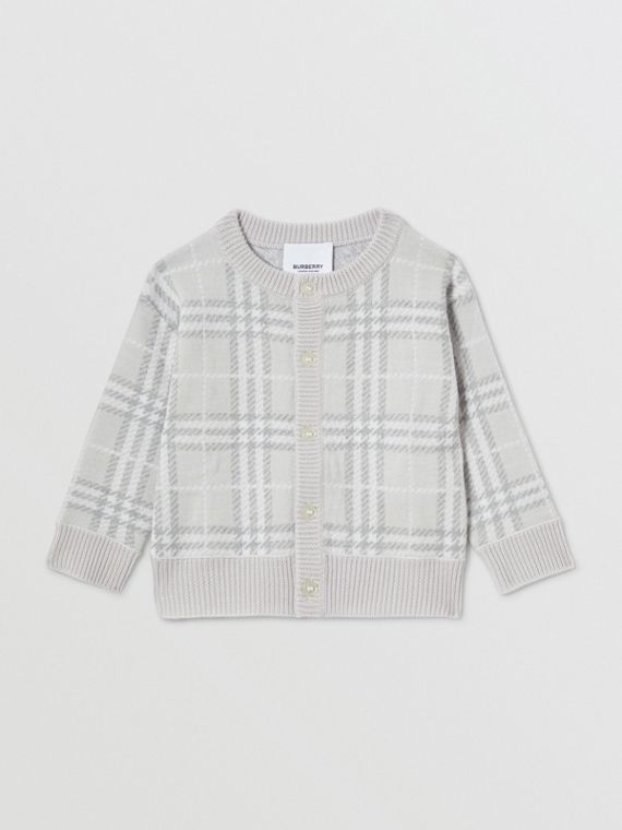 Check Merino Wool Jacquard Cardigan in Pale Grey