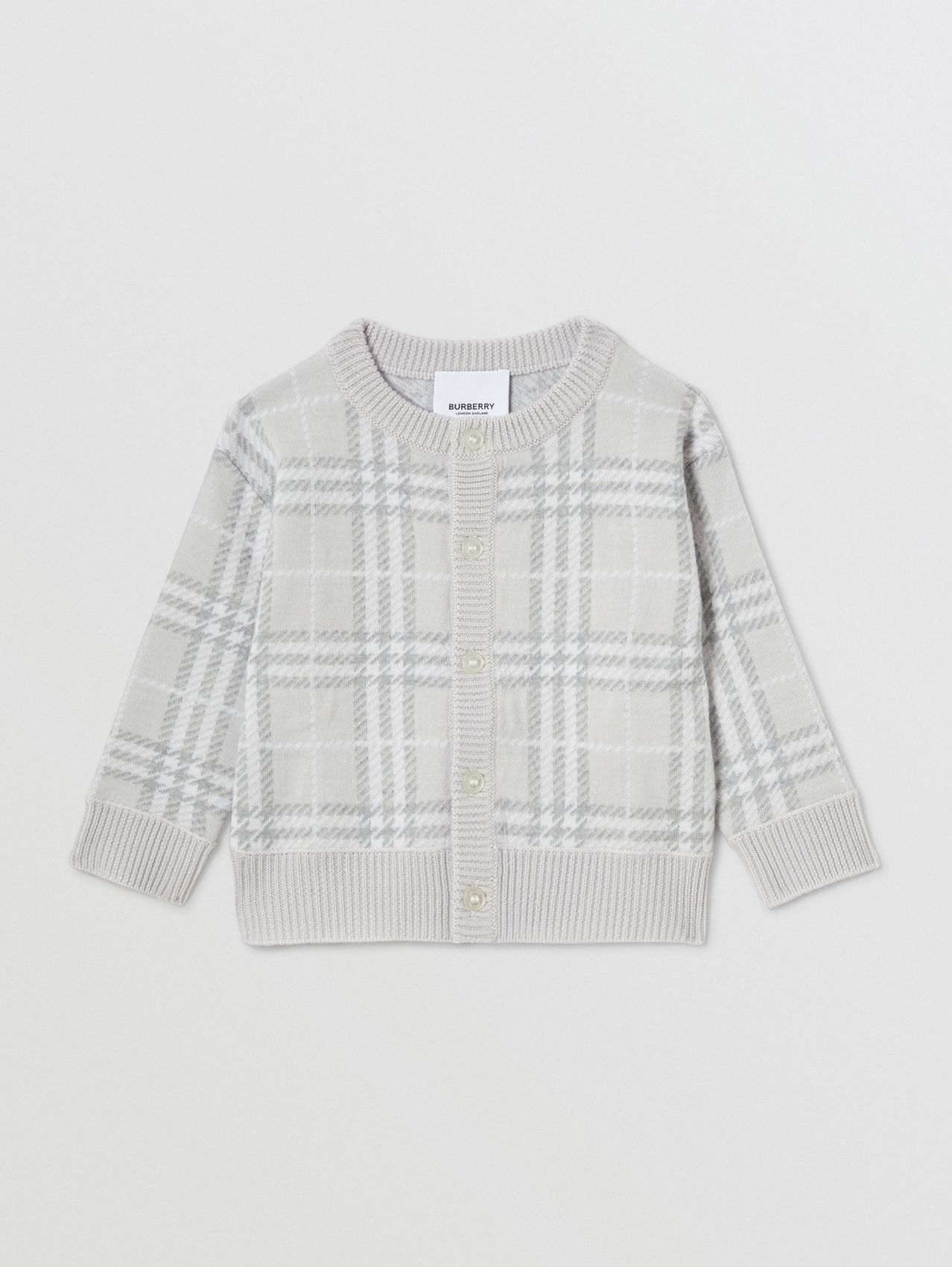 Check Merino Wool Jacquard Cardigan (Pale Grey)