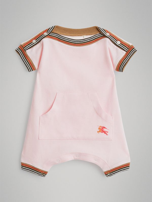 Icon Stripe Cotton Piqué Two-piece Baby Gift Set in Powder Pink - Children | Burberry Hong Kong - cell image 2