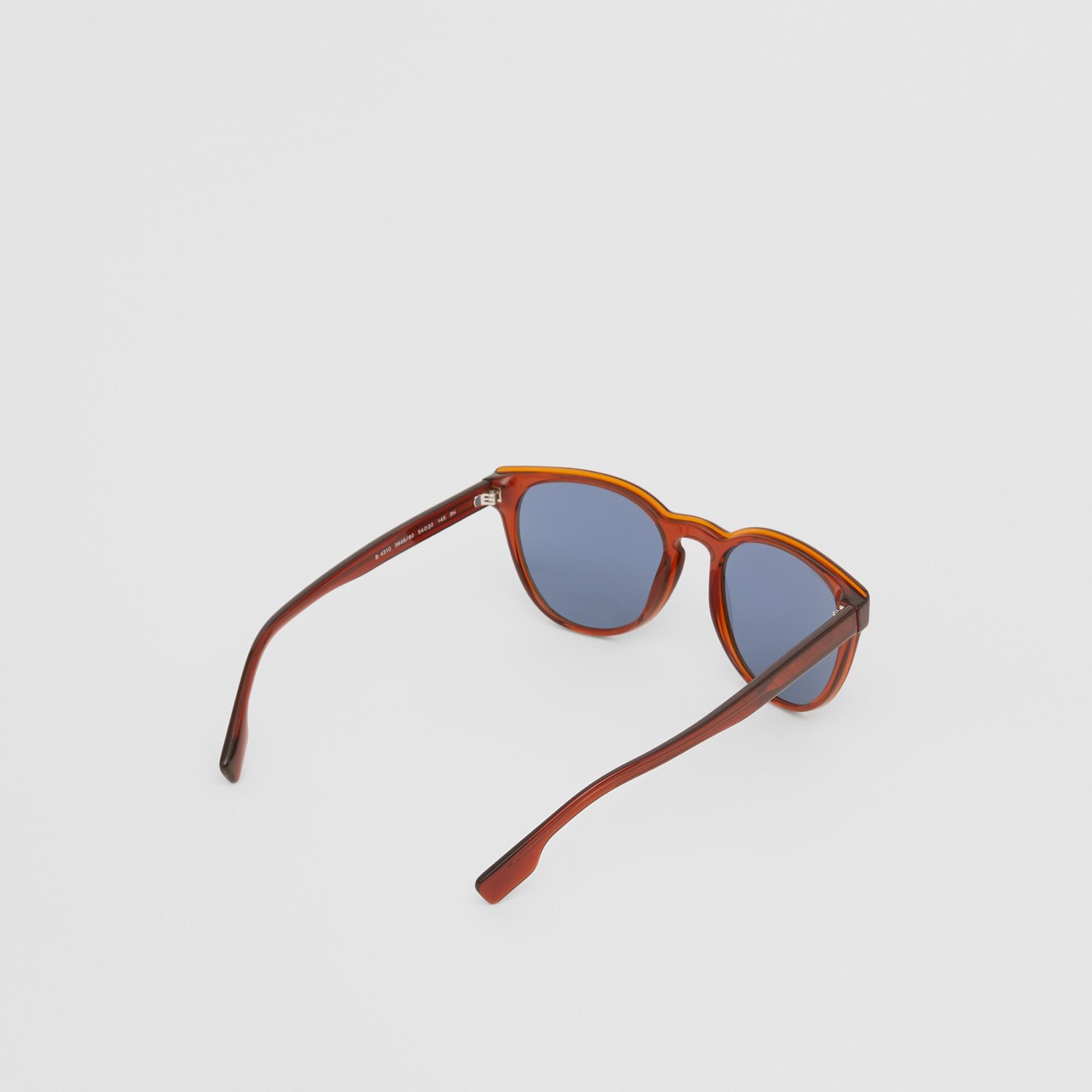 Round Frame Sunglasses in Amber - Men | Burberry Australia - gallery image 3
