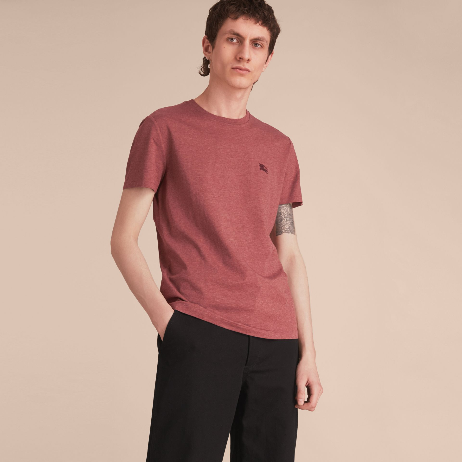 Cotton Jersey T-shirt in Russet Melange - Men | Burberry - gallery image 1