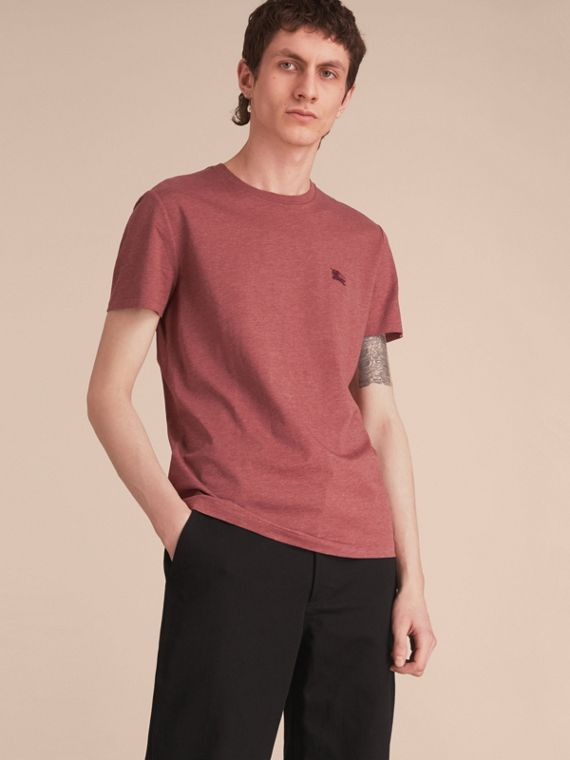 Cotton Jersey T-shirt in Russet Melange - Men | Burberry