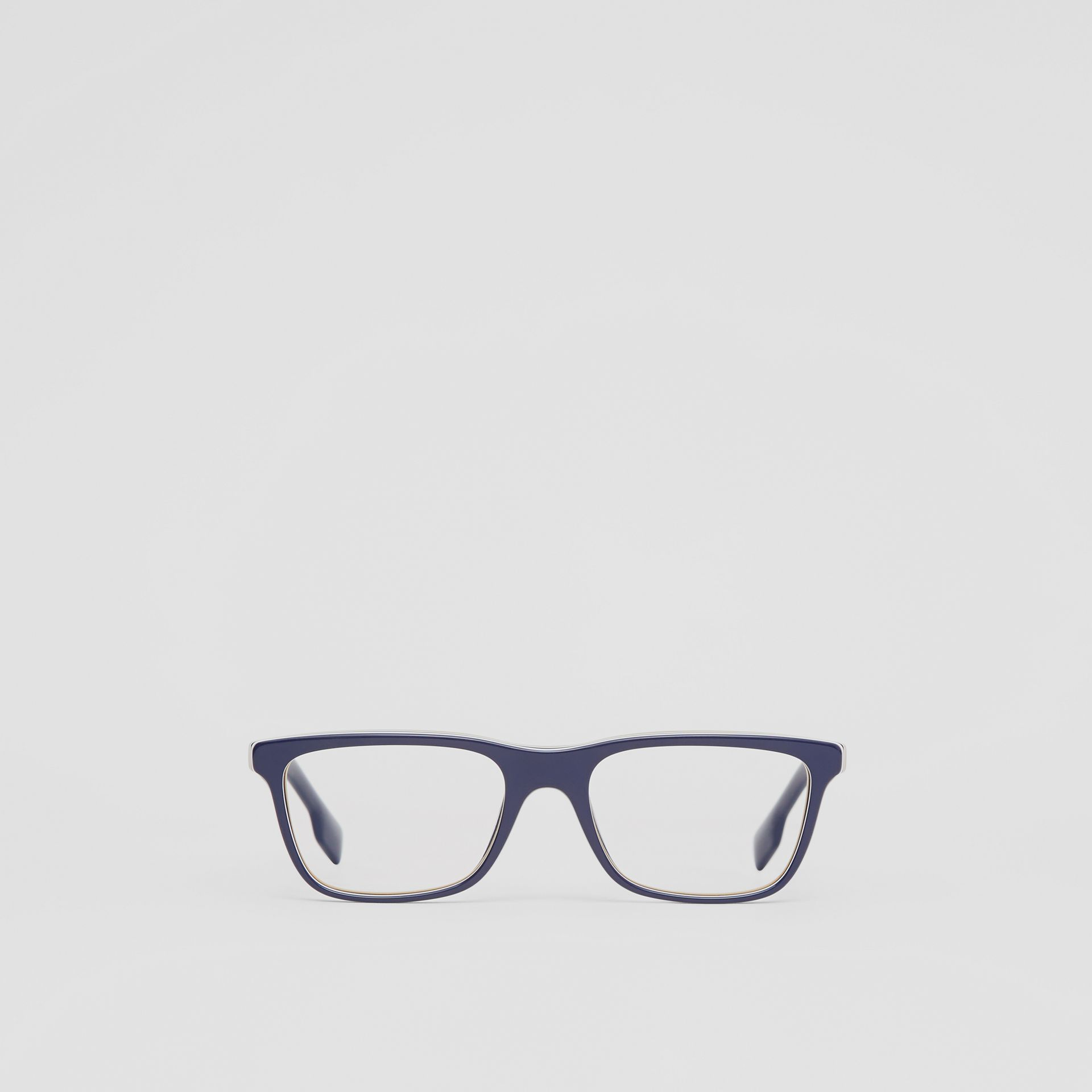 Icon Stripe Detail Rectangular Optical Frames in Blue - Men | Burberry - gallery image 0