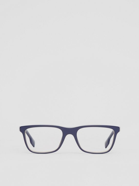 Icon Stripe Detail Rectangular Optical Frames in Blue