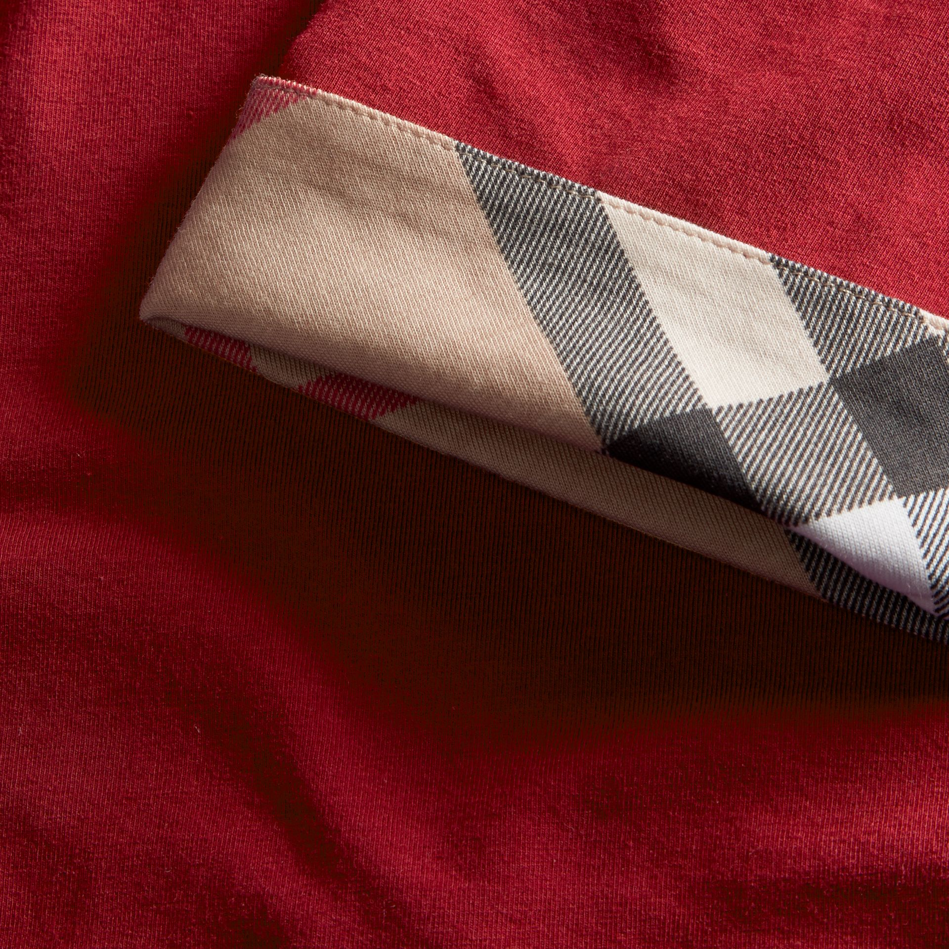 Lacquer red Check Cuff Stretch-Cotton Top Lacquer Red - gallery image 2