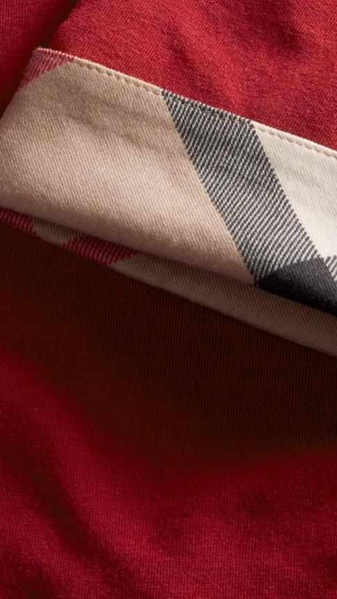 Rouge laque Haut en coton extensible avec revers à motif check Rouge Laque - Image 2