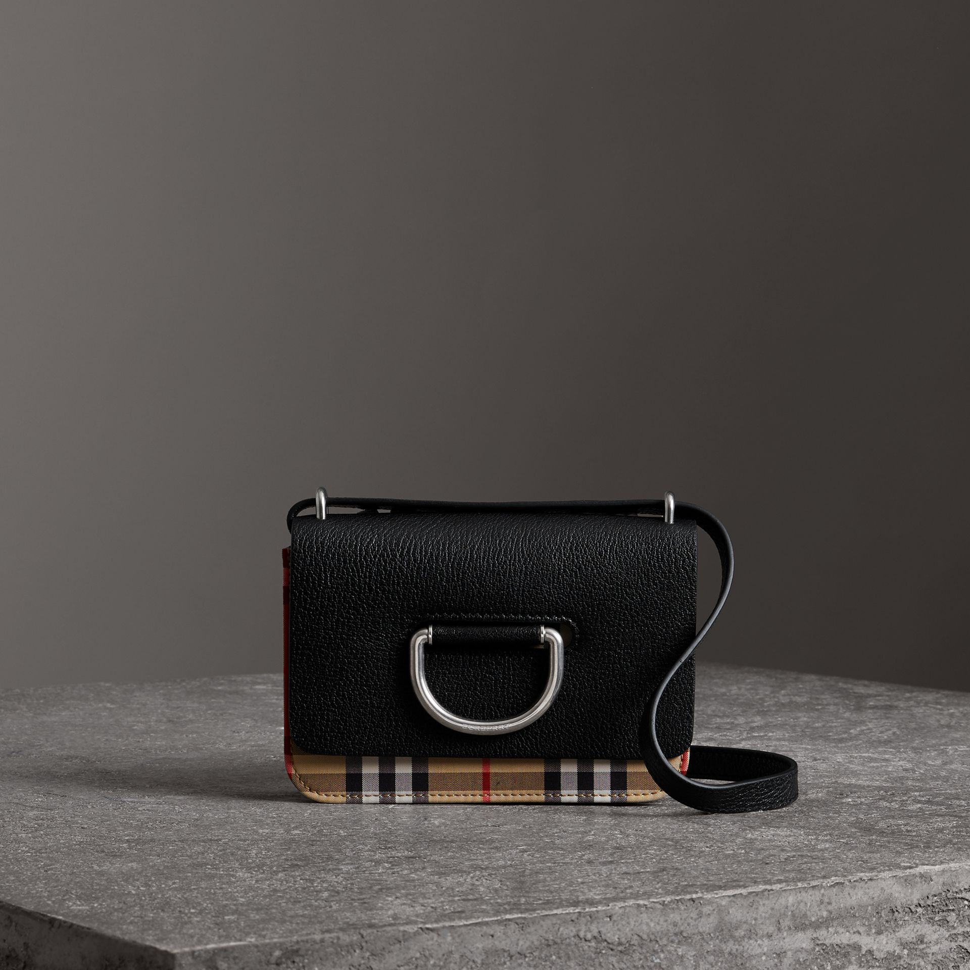 The Mini Vintage Check and Leather D-ring Bag in Black - Women | Burberry Hong Kong - gallery image 0