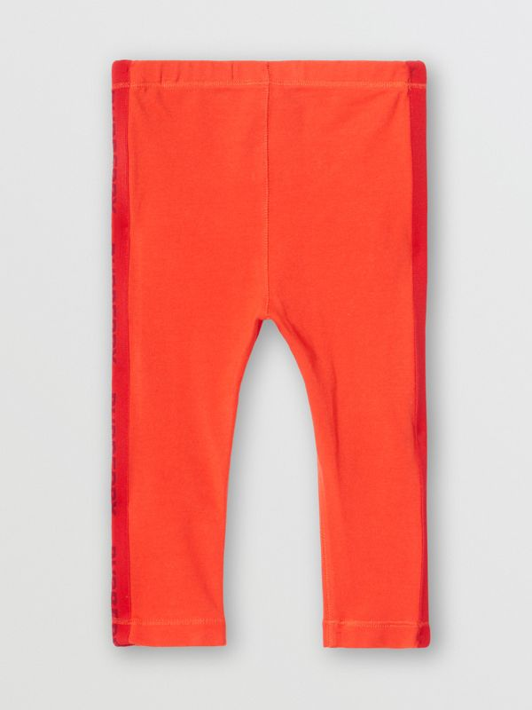 Logo Detail Stretch Cotton Leggings in Bright Red - Children | Burberry - cell image 3