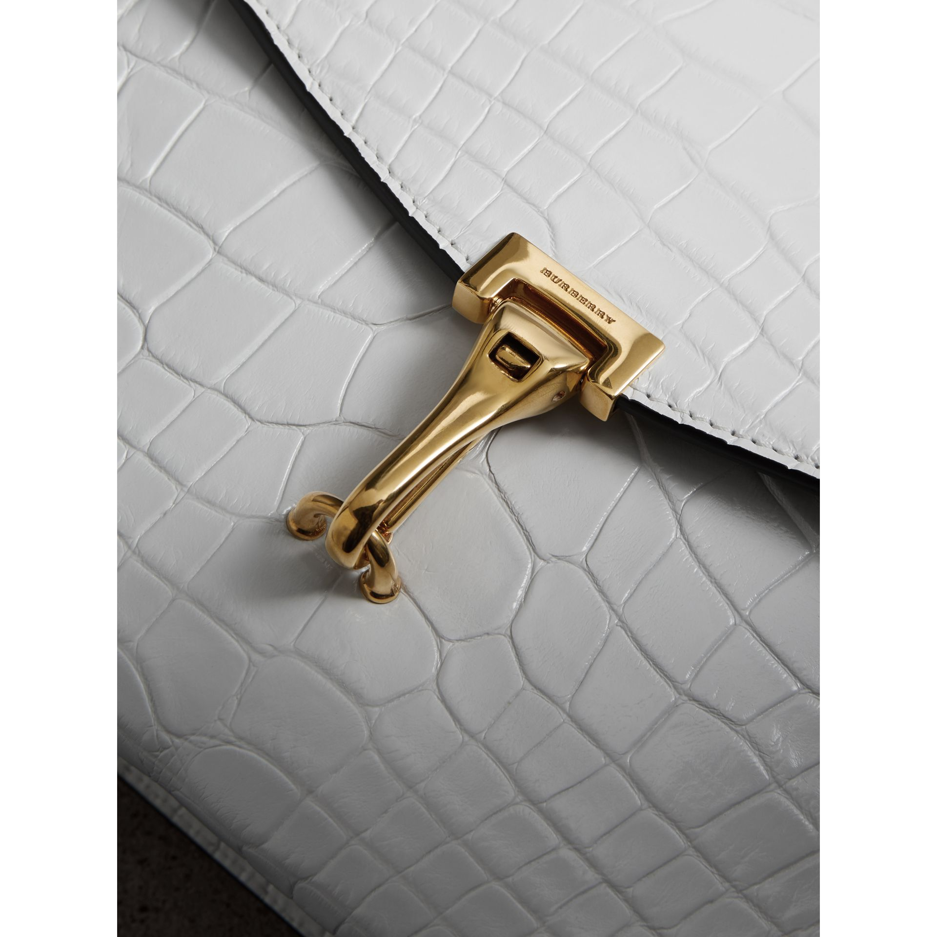 Small Alligator Crossbody Bag in Chalk White - Women | Burberry United Kingdom - gallery image 1