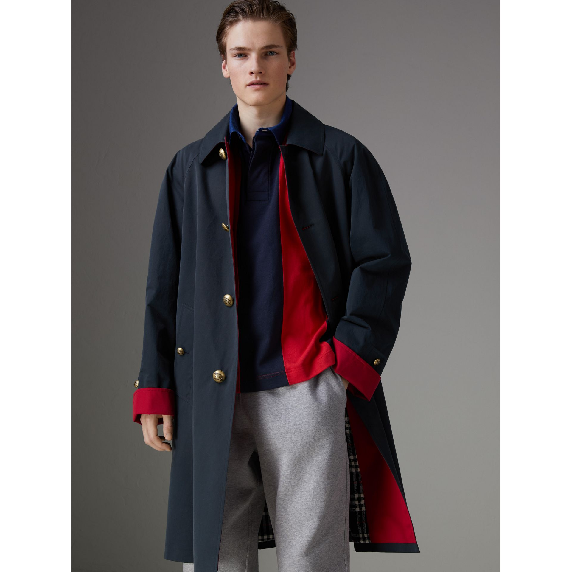 Reissued Waxed Cotton Gabardine Car Coat in Navy - Men | Burberry - gallery image 7