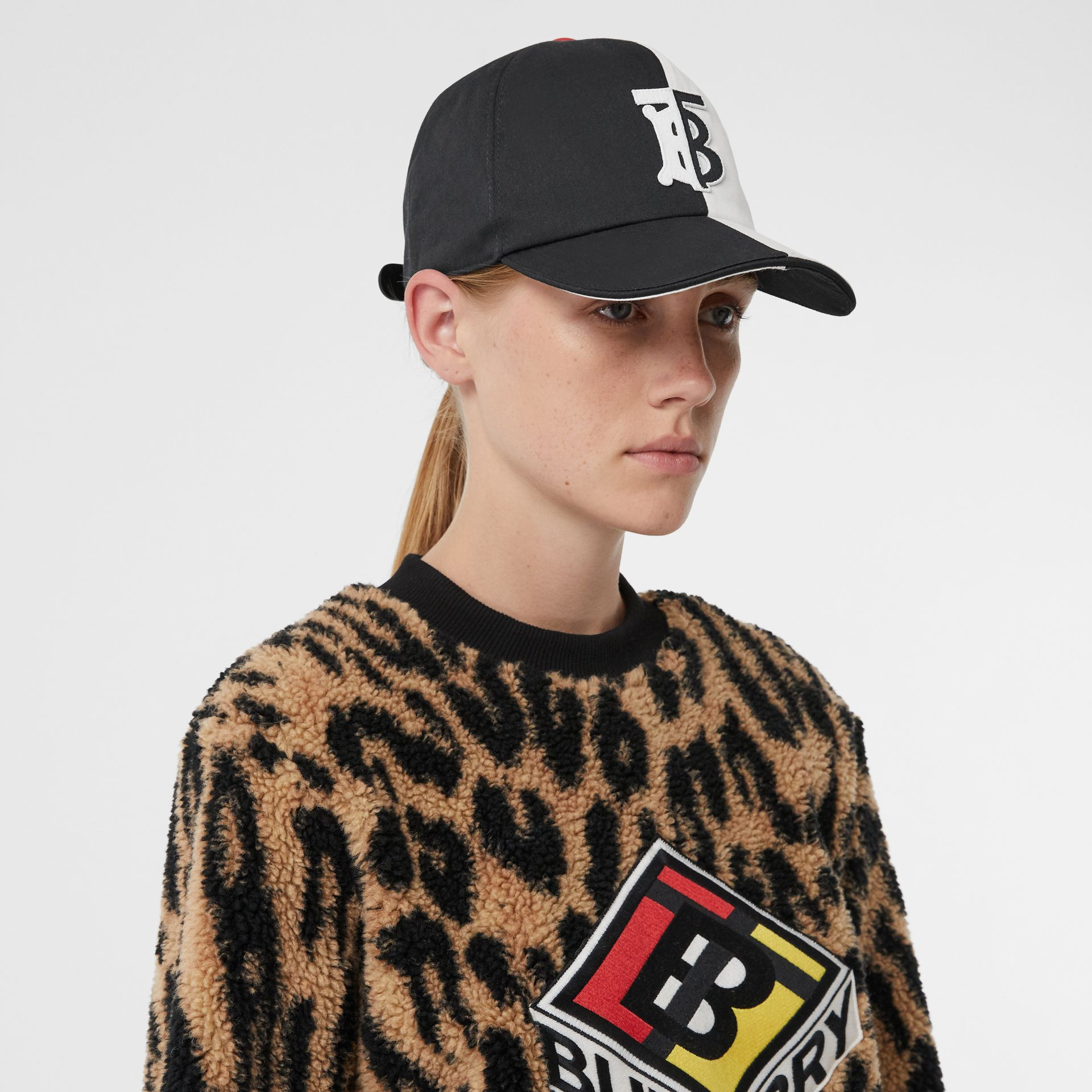 Monogram Motif Two-tone Cotton Baseball Cap in Black/white | Burberry United Kingdom - gallery image 2