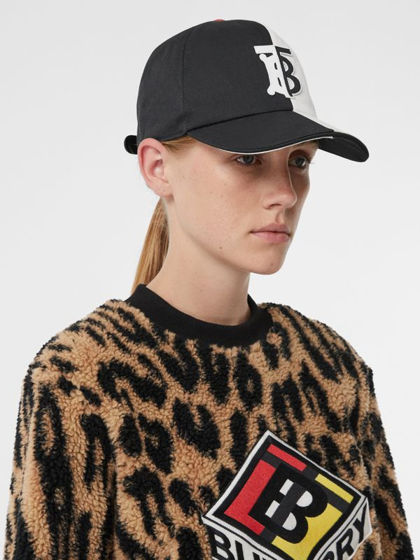Monogram Motif Two-tone Cotton Baseball Cap in Black/white | Burberry United Kingdom - cell image 2