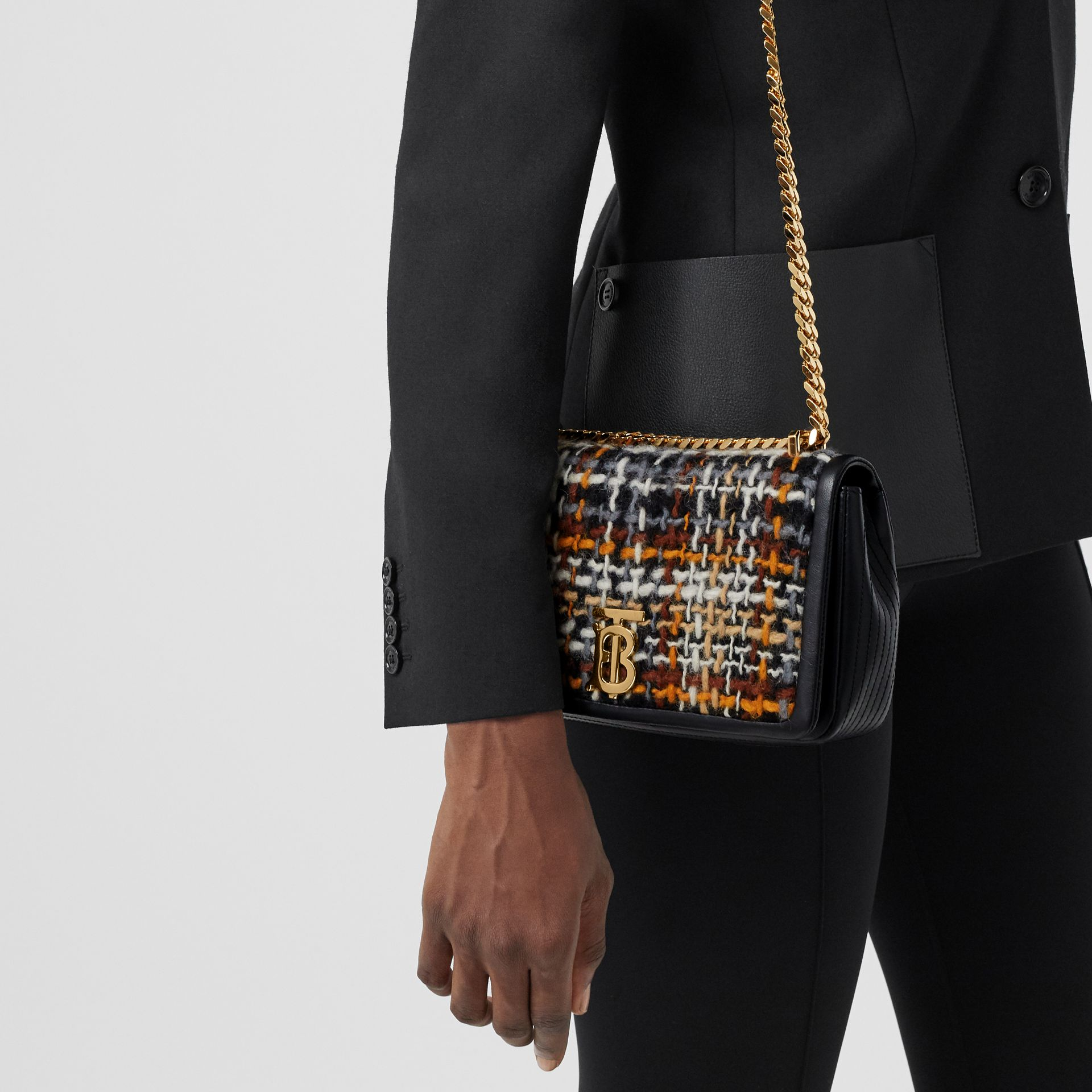 Small Tweed and Lambskin Lola Bag in Black - Women | Burberry Australia - gallery image 2