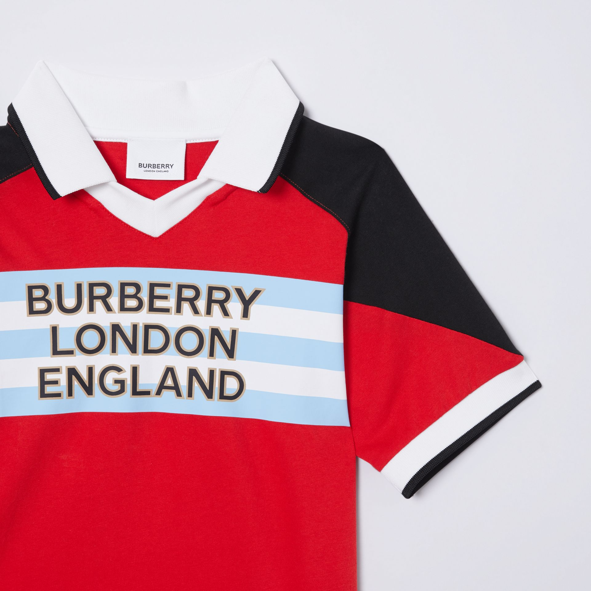 Logo Print Cotton Polo Shirt in Bright Red | Burberry - gallery image 4