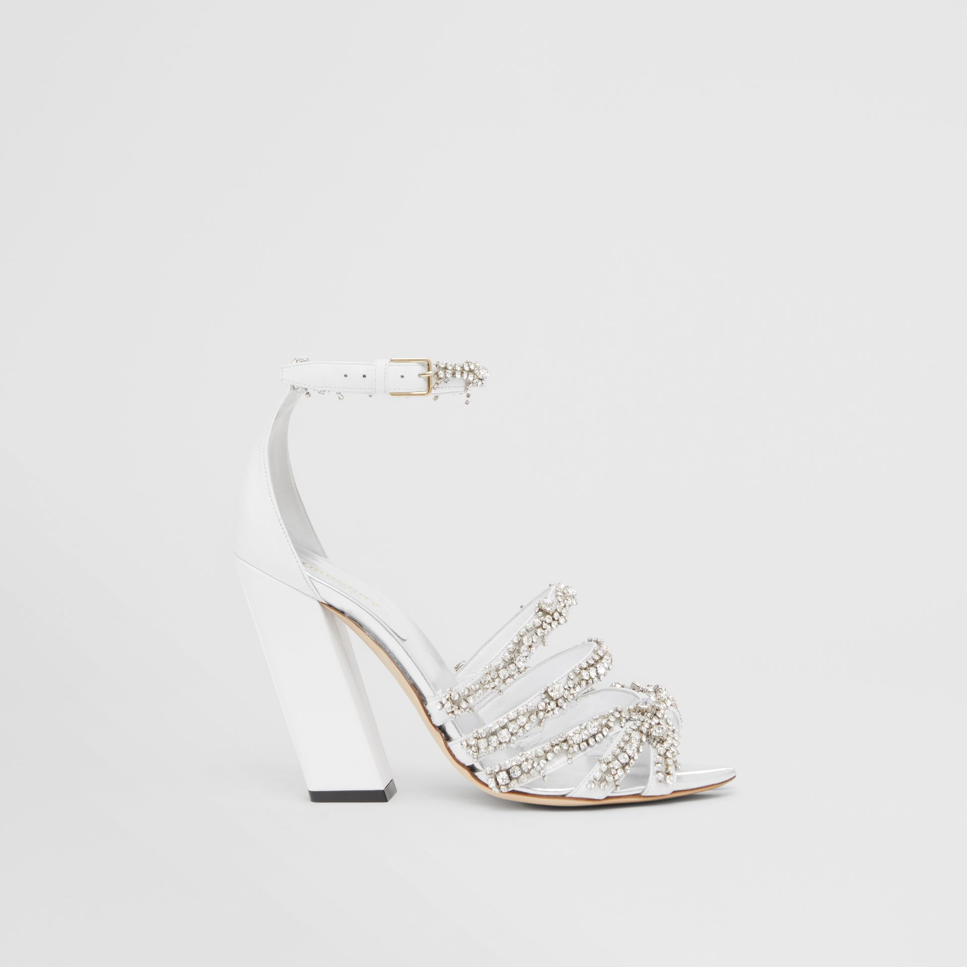 Embellished Split-toe Detail Leather Sandals in Optic White - Women | Burberry United Kingdom - gallery image 5