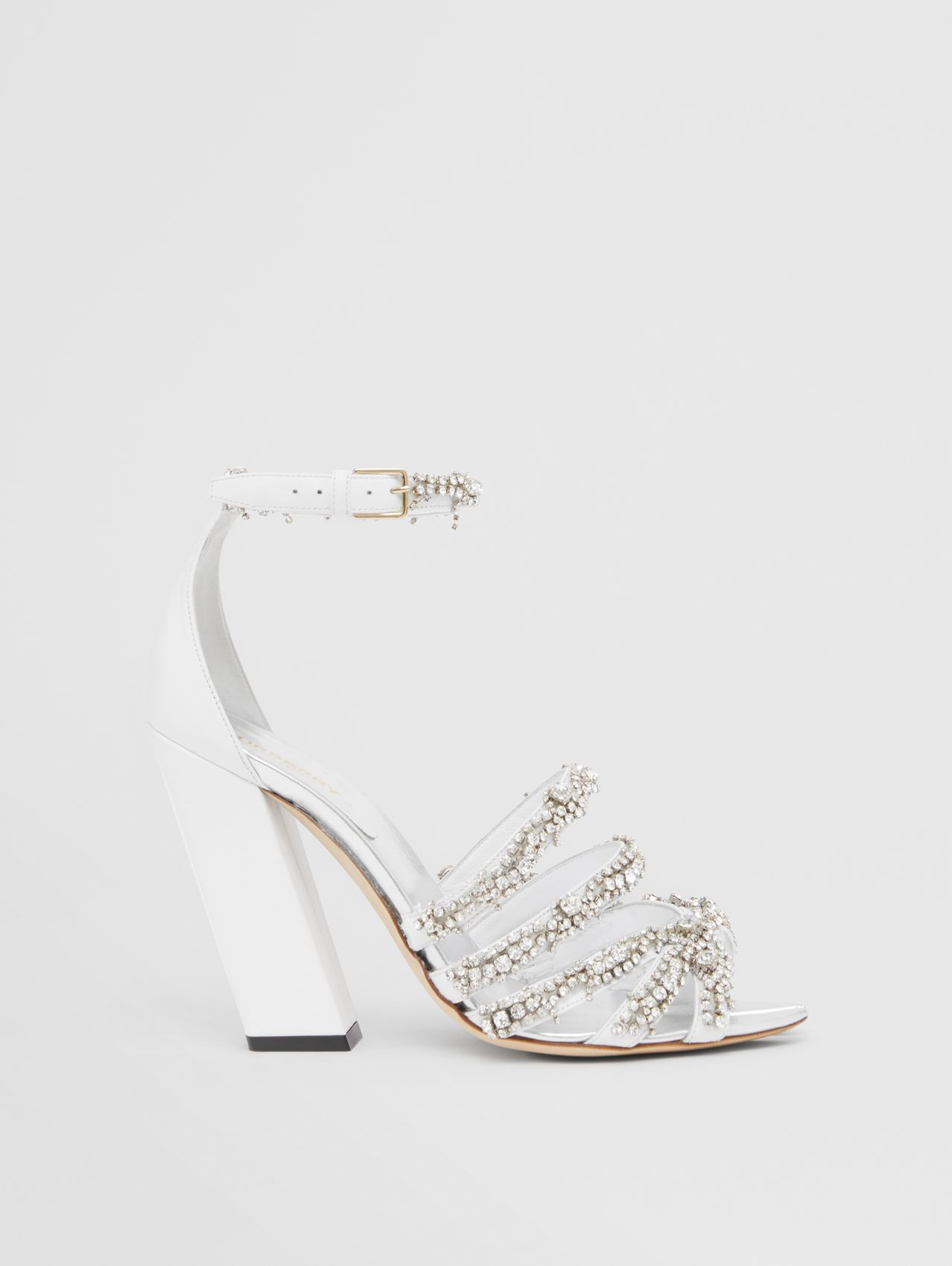 Embellished Split-toe Detail Leather Sandals in Optic White