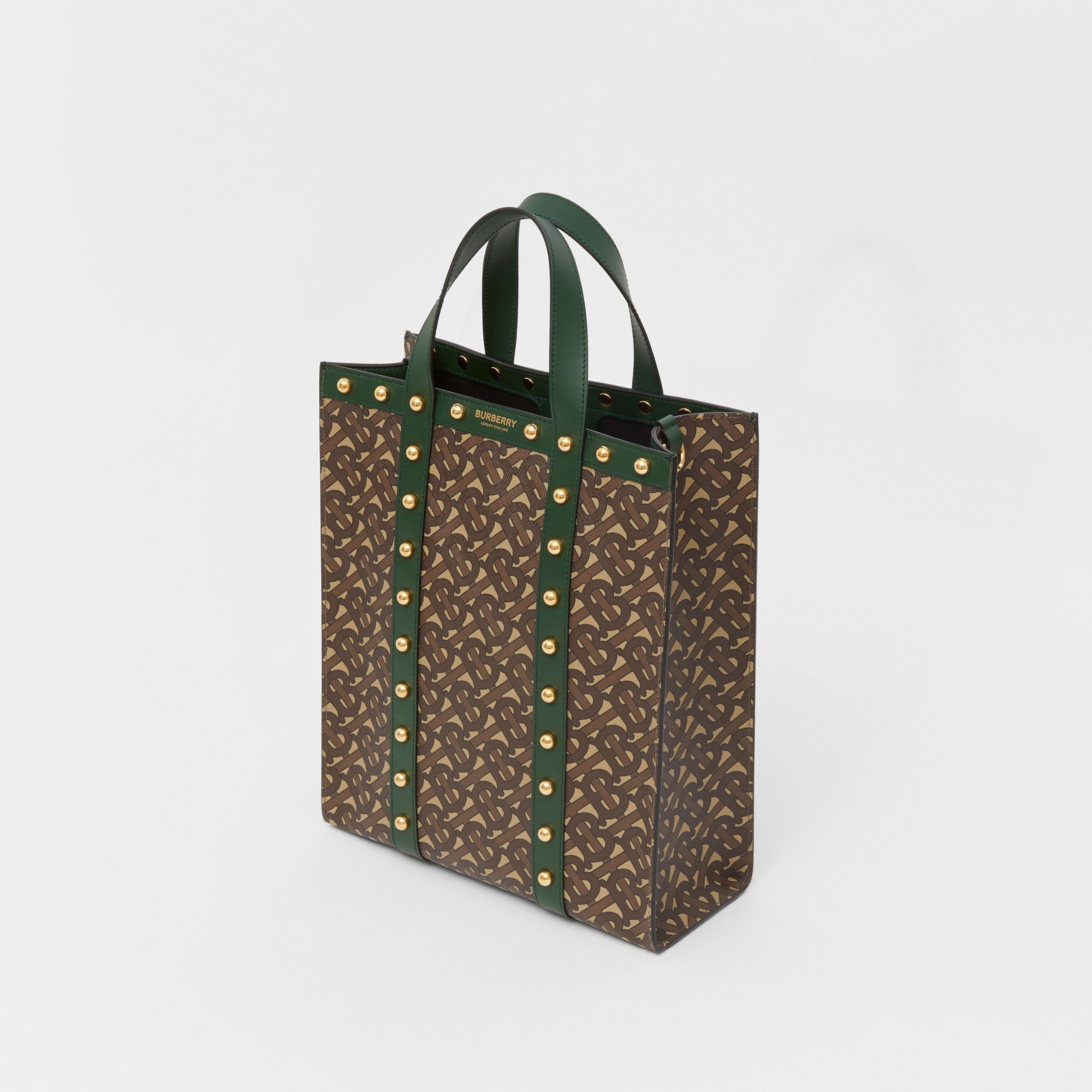 Small Monogram Print E-canvas Portrait Tote Bag in Dark Pine Green - Women | Burberry Australia - 3