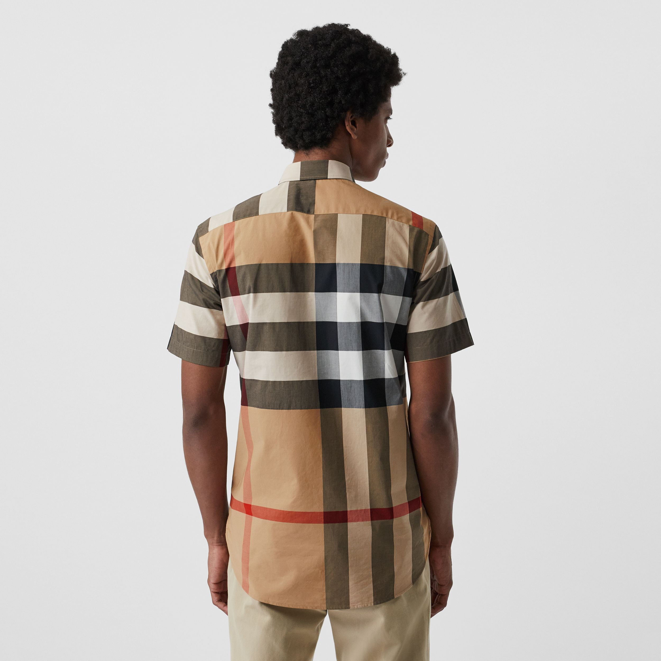 Short-sleeve Check Stretch Cotton Shirt in Camel - Men | Burberry - 3