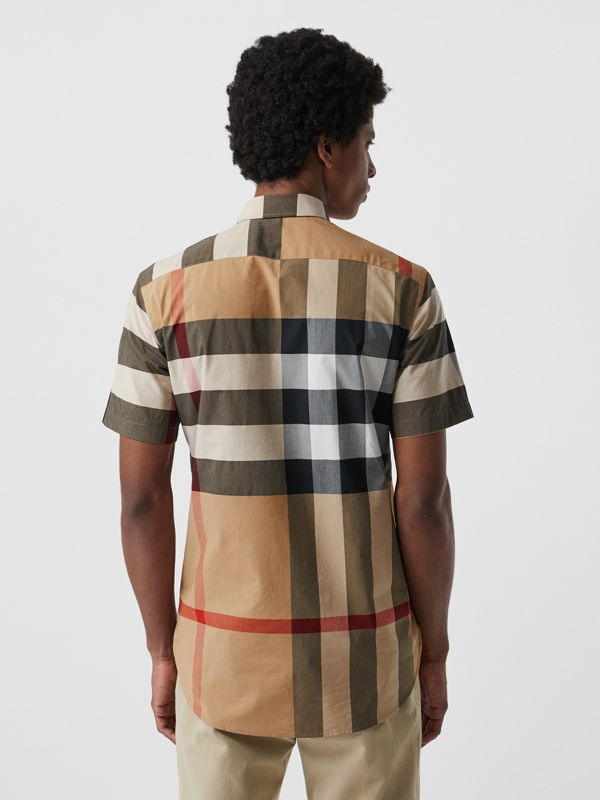 Short-sleeve Check Stretch Cotton Shirt in Camel - Men | Burberry United States - cell image 2
