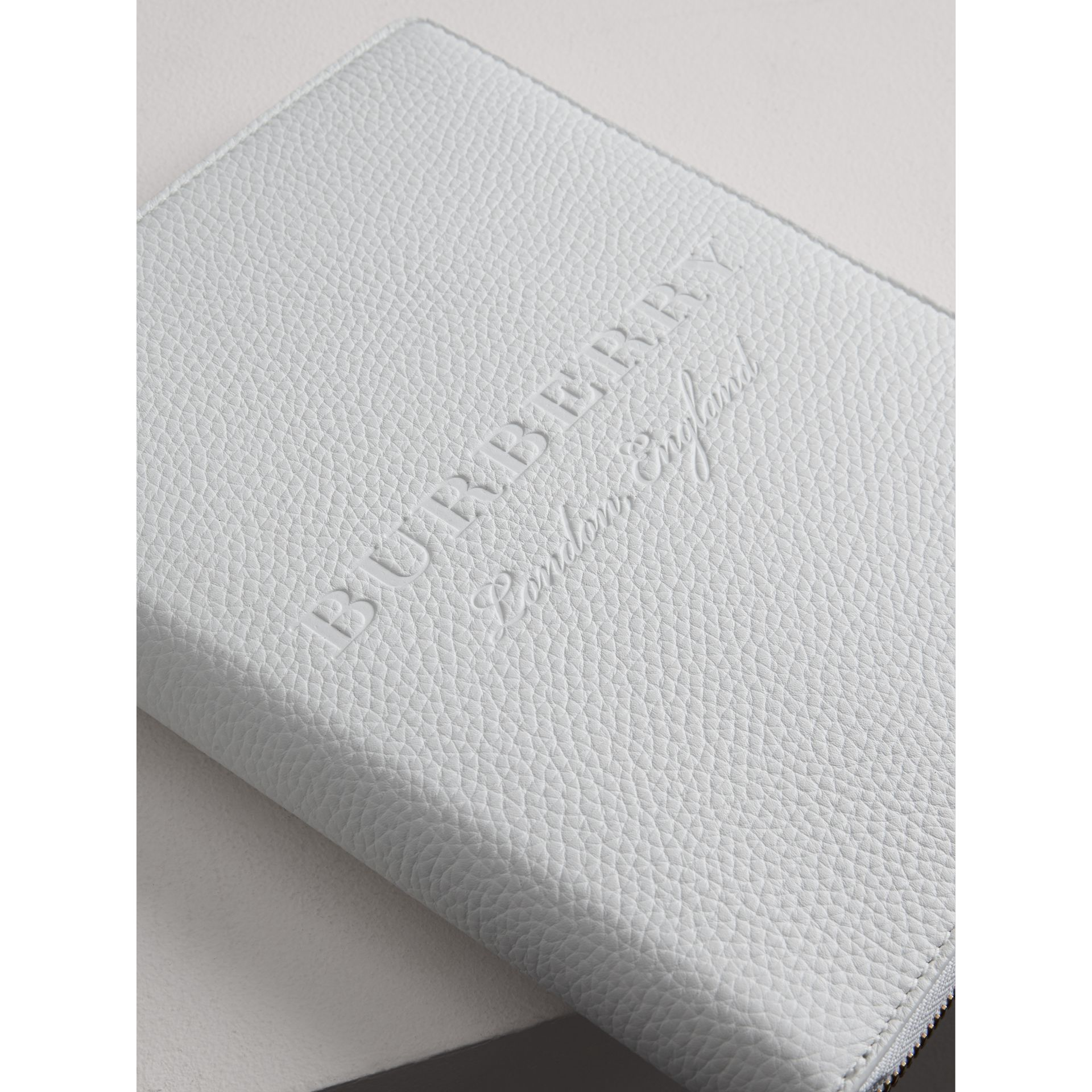 Embossed Leather Ziparound A5 Notebook Case in Chalk White | Burberry - gallery image 1