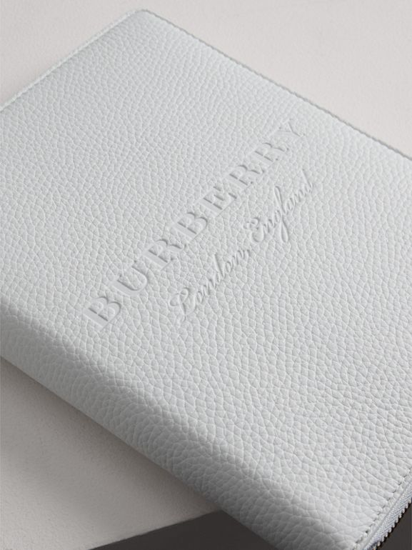 Embossed Leather Ziparound A5 Notebook Case in Chalk White | Burberry United Kingdom - cell image 1
