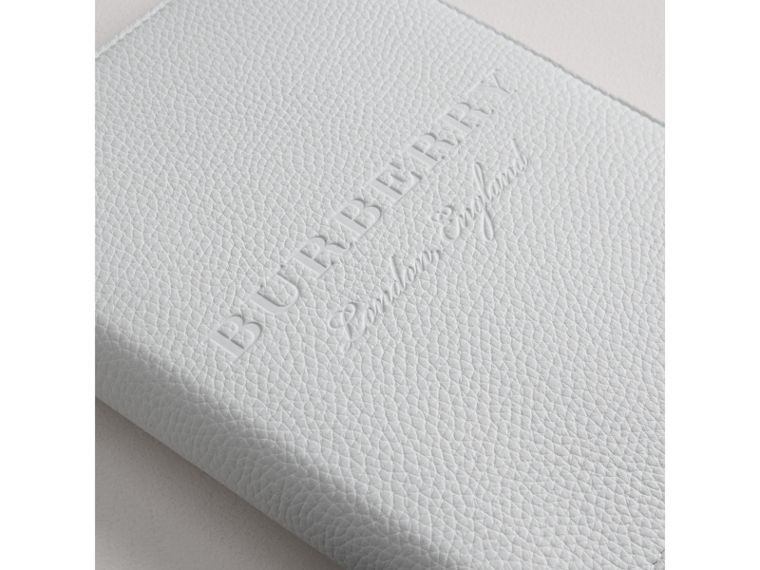 Embossed Leather Ziparound A5 Notebook Case in Chalk White | Burberry - cell image 1