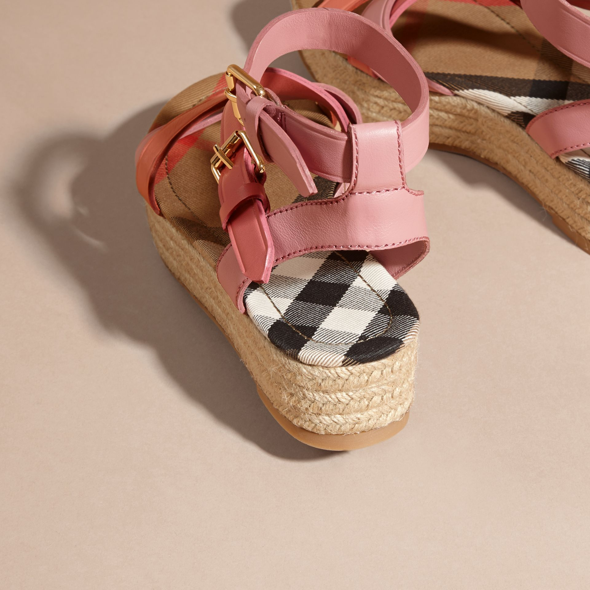 Two-tone Leather Espadrille Sandals in Dusty Pink - Women | Burberry Australia - gallery image 5