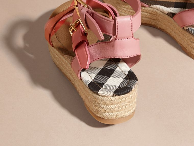 Two-tone Leather Espadrille Sandals in Dusty Pink - Women | Burberry Australia - cell image 4